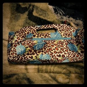 Rose leopard print makeup bag